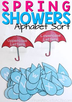 April showers bring May flowers! Use those spring showers to work on differentiating uppercase from lowercase letters with your preschooler! - Education and lifestyle Weather Activities Preschool, April Preschool, Preschool Literacy, Preschool Lesson Plans, Alphabet Activities, Language Activities, Kindergarten, Spring Activities, Childcare Activities