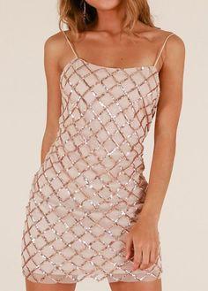 Elegant Sexy Sequined Sling Backless Nightclub Dress - L Club Dresses b3669bf26a71
