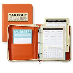 A binder for take-out food menus