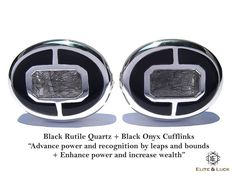"Black Rutile Quartz + Black Onyx Sterling Silver Cufflinks, Rhodium plated, Prestige Model ""Advance power and recognition by leaps and bounds + Enhance power and increase wealth"" *** Combine 2 Gemstone Powers to double your LUCK ***"