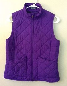 Lauren By Ralph Lauren Purple Puffer Vest Jacket Coat Women's Size Medium Euc  | eBay