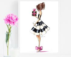 Personal Gifts for Friends / Kate Spade Art / Fashion Illustration / Kate Spade Decor / Glam Decor / Girls Room Decor / Kate Spade Wall Decor / Fashion Wall Art / Kate Spade Print / Kate Spade Dress / Kate Spade Gift / Kate Spade Bridal Shower Kate Spade Bridal Shoes, Kate Spade Gifts, Fashion Wall Art, Bridal Shower Gifts, Wall Prints, Elsa, Room Decor, Wall Decor, Birthday Greetings