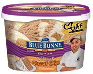 Premium Ice Cream  24 Karat Carrot Cake™   I just had a bowl of this and I have fallen in LOVE!!! SO YUMMY!!! I had one of those moments where you close your eyes and smile while the taste explodes in your mouth foodgasims! Ya .... It's that good! I <3 <3 <3 the Blue Bunny Duff Ice creams!