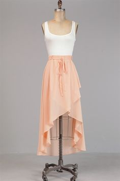 Really cute neutral high-low skirt. Hey girlyz, I'm going to a new school next year and for chapel I need skirts and dresses. If you guys know of any place where there are some for cheap that go down to the knees you should comment. Please.