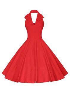 Vintage Halter Backless Pin Up Dress - RED S