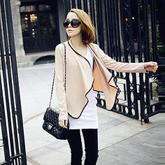 Zian® Women's Tailor Collar Casual Fashion Shoulder Pads Contrast Color Cotton Long Sleeves Suit