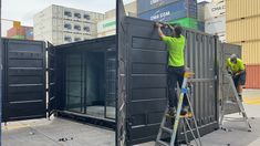 Something you don't see every day, a High Cube double side opening container. This unit had been refurbished and converted for a customer who'll bring fitting it out into a bar Shiping Container Homes, Shipping Container Store, Shipping Container Restaurant, Shipping Containers For Sale, Shipping Container Home Designs, Storage Container Homes, Container Buildings, Container Architecture, Container Shop