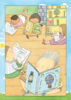 I have fun at the library / Me divierto en la biblioteca (ilustración de Elisabeth Teixeira)
