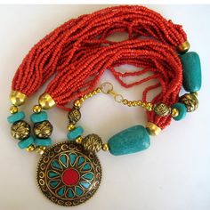 Turquoise and Coral Bohemian Necklace / Statement by FootSoles, $30.50