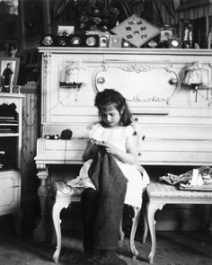 Grand Duchess Anastasia knitting in her mother's boudoir. Russia, 1900s.  Source: Romanov Collection, General Collection, Beinecke Rare Book and Manuscript Library, Yale University