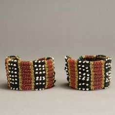 Pair of North Nguni beadwork Anklets - South Africa |  Late 19th to early 20th century | Glass beads, sinew