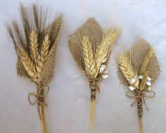 Wheat And Burlap Boutonniere - Perfect For Rustic Or Country Weddings - Groom Groomsmen - Spring Summer Fall Winter Autumn - Barn. $12.25, via Etsy.