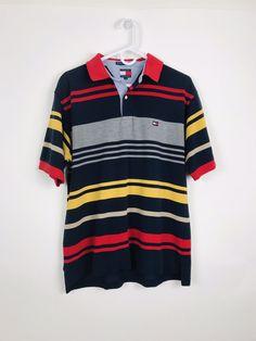 1be85691c Vintage 90s Tommy Hilfiger Mens Polo Golf Shirt MultiColor Block Flag Logo  L A58