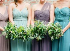 turquoise and purple bridesmaids palette: Mix and Match Bridesmaids to Look Gorgeous | http://www.itakeyou.co.uk/wedding/mix-and-match-bridesmaids #bridesmaids