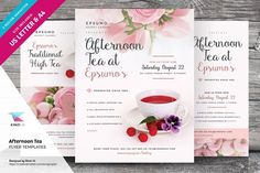 Afternoon Tea Flyer Templates by kinzi21 on @creativemarket