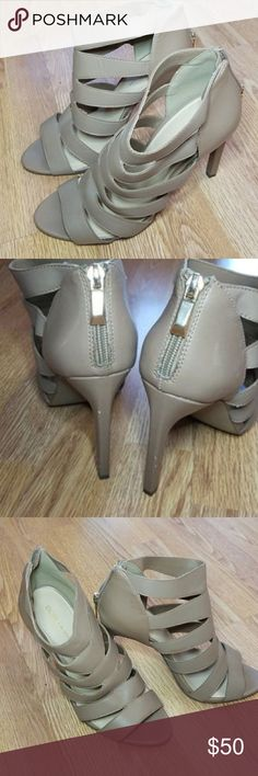 """BCBG HEELS Tan peep toe BCBGeneration shoes with 3.5"""" heel. Worn only ONCE. Pictured with a little imperfection on the heel. I don't fit these, I vary from a size 7.5-8 but my feet are too small for these so if you are a true 8 I wouldn't think these would fit you. They are super adorable and very good for work dress shoes, as they are not to high but still have a cute touch to them! I am a huge heel girl and I sure wish these fit! BCBG Shoes Heels"""