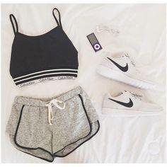 Grey elastic waist straight shorts