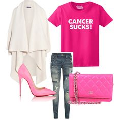 Cancer Sucks! by anne-kristoffersen on Polyvore featuring polyvore, fashion, style, Alexander McQueen, Polo Ralph Lauren, Christian Louboutin and Chanel