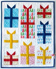 """= free pattern = Nice package wall quilt, ~22 x 28"""", by Michelle Engel Bencsko for Cloud 9 Fabrics.  Featured at Quilt Inspiration."""