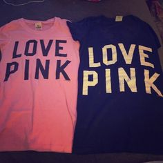 Victoria secret shirts Great condition. No rips or stains. Taking offers on everything!!!! PINK Victoria's Secret Tops Tees - Short Sleeve