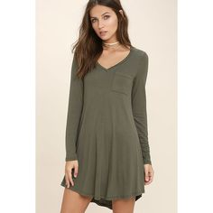 Relaxation Olive Green Long Sleeve Dress ($35) ❤ liked on Polyvore featuring dresses, green, olive green dress, curved hem dress, v neck dress, long dresses and v-neck dresses