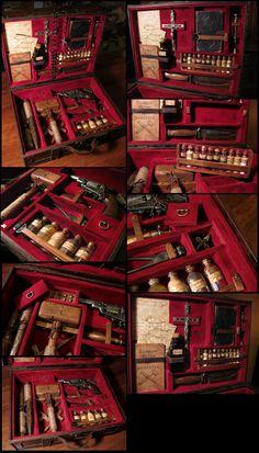 Vampire Killing Kit 2 by PReilly on DeviantArt Vampires, Crafts With Pictures, Vampire Hunter, Steampunk Diy, Monster Hunter, Cthulhu, Dracula, Dieselpunk, Larp