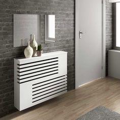 Moderne look radiator behuizeing Radiator Heater Covers, Radiator Shelf, Modern Radiator Cover, White Radiator Covers, Home Radiators, Diy Home Decor, Room Decor, Cabinet Design, Interior And Exterior