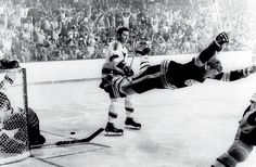 Boston Bruins defenseman Bobby Orr celebrates his Cup-winning goal during overtime of Game 4 of the Stanley Cup finals against the St. Louis Blues. Orr would win MVP honors, and the victory was Boston's first Cup in 29 years.