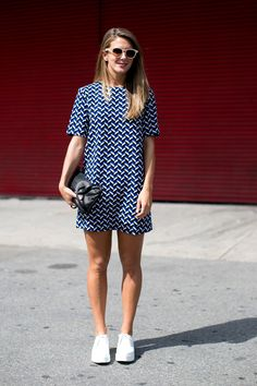 Style Inspiration: The Best Street Style at NY Fashion Week Spring 2014 >>>A graphic Zara dress paired surprisingly well with sneakers.