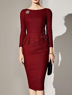 28c77482 16 Best Boat Neck Dress images | Casual dresses, Dress skirt, Linen ...