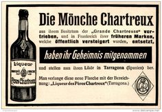 Original-Werbung/ Anzeige 1909 - LIQUEUR PÈRES CHARTREUX  / TARRAGONA - ca. 135 x 90 mm
