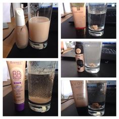 Are your foundations clogging up your pores? Test it out when you drip some of it in water! If it sticks to the side of the cup and coagulates then chances are it's clogging up your pores and may cause breakouts and white/blackheads. Nu Skin's foundation (top left picture) has no mineral oils, fillers, talc, petrolatum, alcohol or any other harmful ingredients.