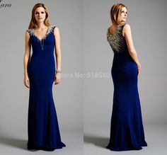 slim sexy new v-neck crystal beads royal blue chiffon floor legnth long Vestidos De Fiesta a-line evening dresses