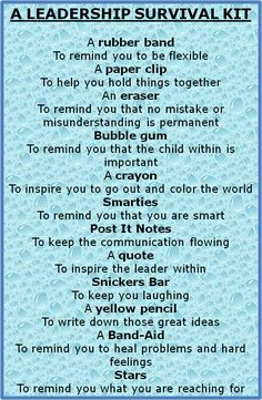 leadership survival kit - Bing Images - would be a neat thing to give students on the first day of my leadership seminar! --something to hand out on the first day of stuco Wordpress Blog, Coaching Personal, Leader In Me, Employee Recognition, Life Quotes Love, Change Quotes, Staff Appreciation, Employee Appreciation Quotes, Thinking Day