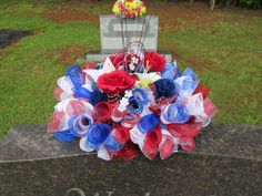 Headstone saddle, Grave decoration, Gravestone saddle, Deco mesh flower arrangement, Tombstone arrangement