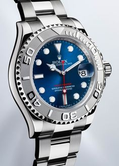 The Rolesium version of the Rolex Yacht-Master with a blue dial and Oyster bracelet. The Rolesium version of the Rolex Yacht-Master with a blue dial and Oyster bracelet. Best Watches For Men, Rolex Watches For Men, Fossil Watches, Men's Watches, Luxury Watches For Men, Sport Watches, Cool Watches, Bracelet Rolex, Yacht Fashion