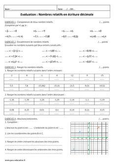 Nombres relatifs en écriture décimale - 5ème - Contrôle - Pass Education