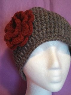 Grey Crocheted Beanie with Burgundy Flower by head2toeblingsusan, $15.00
