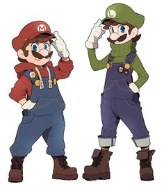 Hoodies and overalls and hats = costume!You can find Super mario bros and more on our website.Hoodies and overalls and hats = costume! Super Mario Bros, Super Mario World, Super Mario Brothers, Super Smash Bros, Nintendo Characters, Video Game Characters, Mario Und Luigi, Mario Fan Art, Character Art