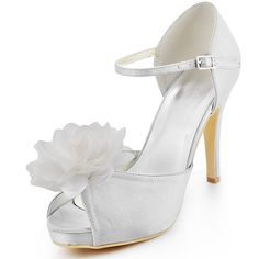 """Ivory Dyeable Charming 4"""" Hand Made Flower & Peep-toe D'Orsay - Formal Occasion shoes (12 Colors)"""