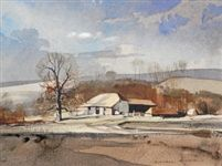 Shoreham in Kent and Autumnal landscape (2 works) by Rowland Hilder