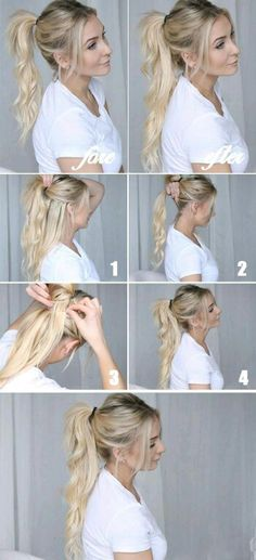 Best Hairstyles for Long Hair - Cool Ponytails - Step by Step Tutorials for Easy Curls, Updo, Half Up, Braids and Lazy Girl Looks. Prom Ideas, Special Occasion Hair and Braiding Instructions for Teens (Step Hairstyles Lazy Girl) Long Ponytail Hairstyles, Fun Ponytails, Braided Hairstyles, Cool Hairstyles, Wedding Hairstyles, Long Haircuts, Teenage Hairstyles, Easy Hairstyle, Hairstyle Tutorials
