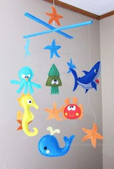 """Baby Mobile - Starfish Crib Mobile - """"Happy Party Under The Sea"""" - Handmade Nursery Mobile (Match your bedding)"""