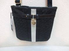 Tommy Hilfiger Small XBody Handbag 6918384 990 Black Beige Gold Retail $59.00 #TommyHilfiger #MessengerCrossBody