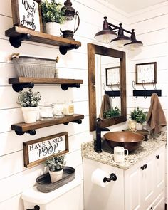 Are you looking for pictures for farmhouse bathroom? Browse around this website for perfect farmhouse bathroom inspiration. This particular farmhouse bathroom ideas will look terrific. Rustic Bathroom Designs, Rustic Bathroom Decor, Farm House Bathroom Decor, Bathroom Shelf Decor, Floating Shelves Bathroom, Rustic House Decor, Rustic Apartment Decor, Mirror Shelves, Rustic Bathroom Shelves