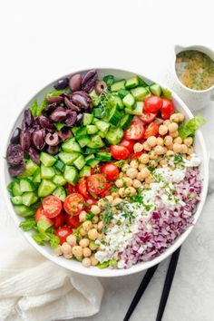Make this Mediterranean Chopped Salad for a large crowd. It's full of veges, chickpeas, feta cheese and olives and tossed in an oil-free lemon herb dressing Appetizer Salads, Easy Appetizer Recipes, Best Appetizers, Quinoa Avocado Salad, Avocado Salat, Healthy Salads, Healthy Recipes, Easy Recipes, Simply Recipes