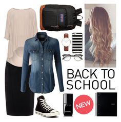 """""""Back 2 School"""" by pentecostal-modesty ❤ liked on Polyvore featuring Raoul, Mat, LE3NO, Converse, Daniel Wellington, Kate Spade, JanSport and Chanel"""
