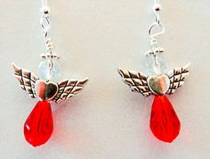 1184 - Angel earrings, red angels, angel jewelry, crystal angels, red crystal, ant silver wings, Christmas earrings, Christmas jewelry, Xmas by EarringsBraceletsEtc on Etsy
