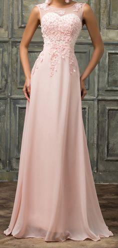Women's Beaded Pink Chiffon Bridesmaid Dress EM00029