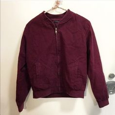 NWOT Burgundy Bomber Jacket Gorgeous bomber jacket in burgundy, brand new and never worn. Cheaper on IG (@breakingbrandy) and merc! ❌NO TRADES❌ Brandy Melville Jackets & Coats